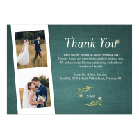 Personalized Wedding Thank You Card - Greenery Lights - 5 x 7 Flat