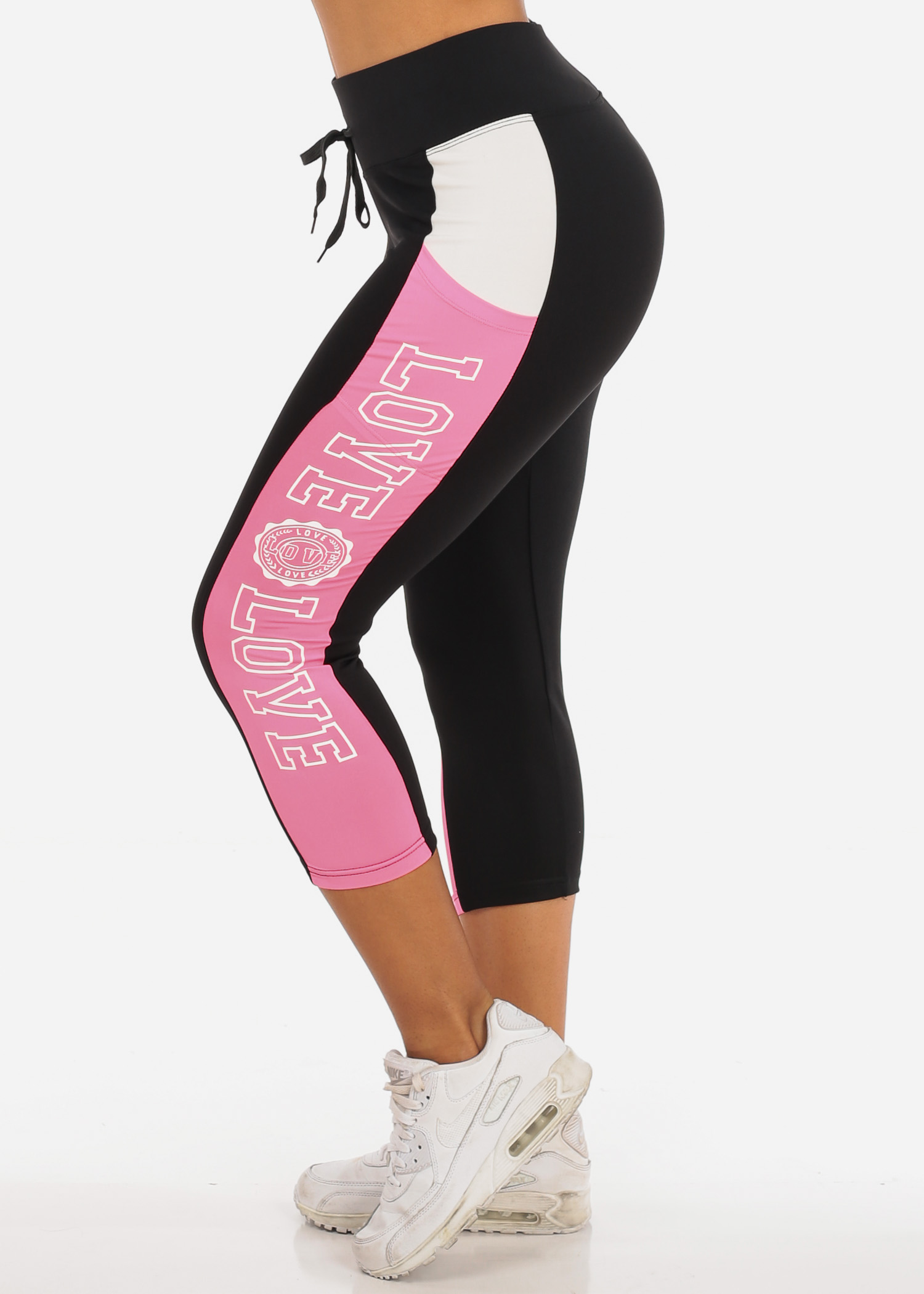Womens Juniors Stretchy Activewear Sport Workout Gym Yoga Pink Love Black Cropped Capri Tights Leggings 41118W
