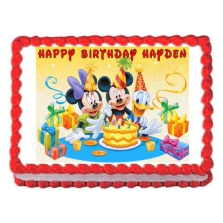 1/4 Sheet Mickey Mouse Party Edible Frosting Cake Topper* - Mickey Mouse Birthday Cake Pan