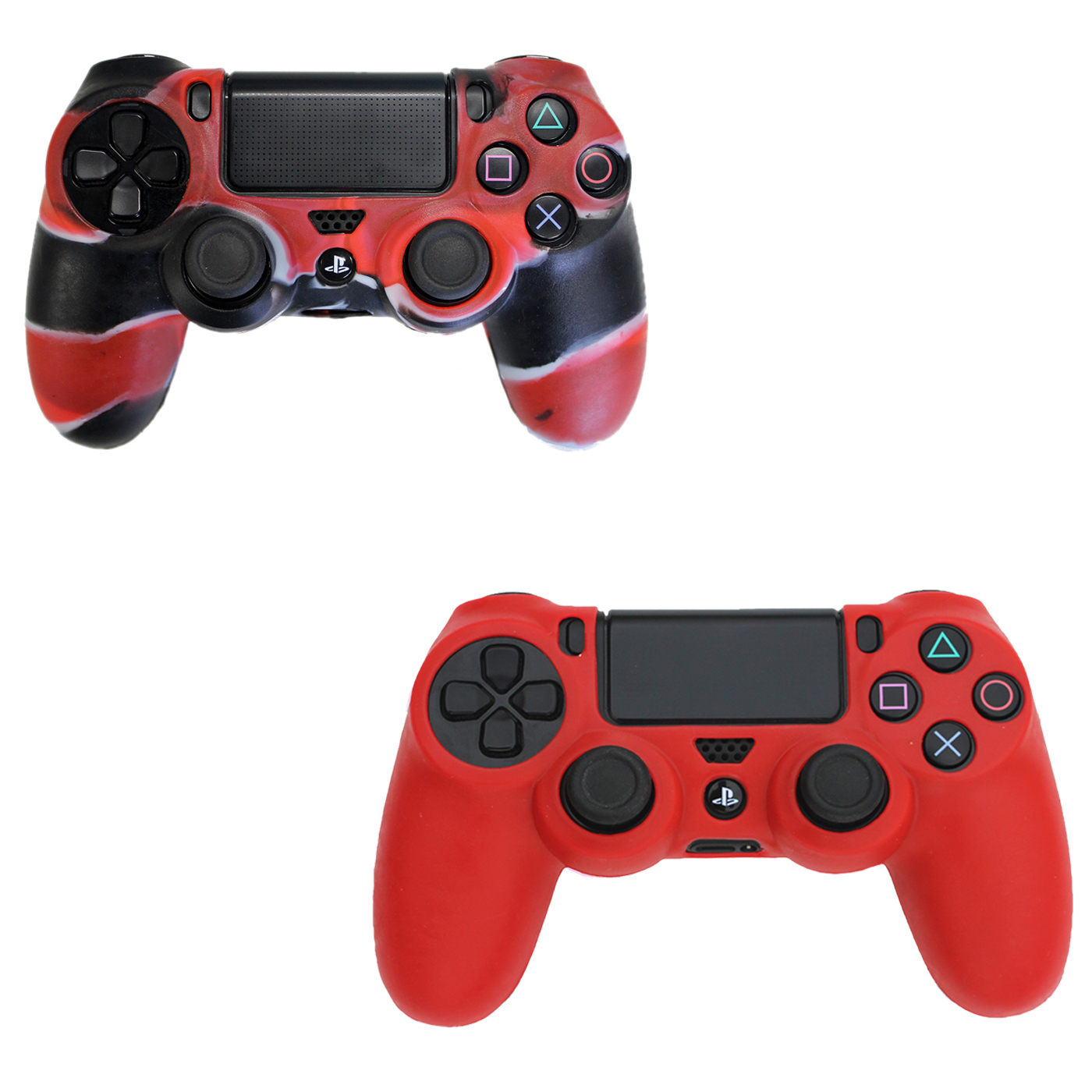 HDE PS4 DualShock Controller Silicone Skin 2-Pack Rubber Protective Grip for Playstation 4 (Red)