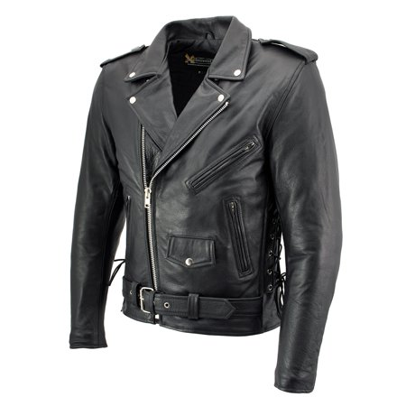Classic Motorcycle Jacket (Xelement Xelement B7103 'Ruffian' Mens Classic Motorcycle Side Lace Leather Jacket with Gun Pocket Black X-Large)
