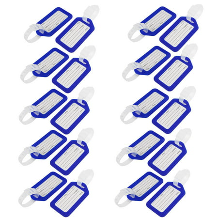 Unique Bargains Suitcase Rectangle Design Blue White Plastic ID Name Label Luggage Tag 20 Pcs