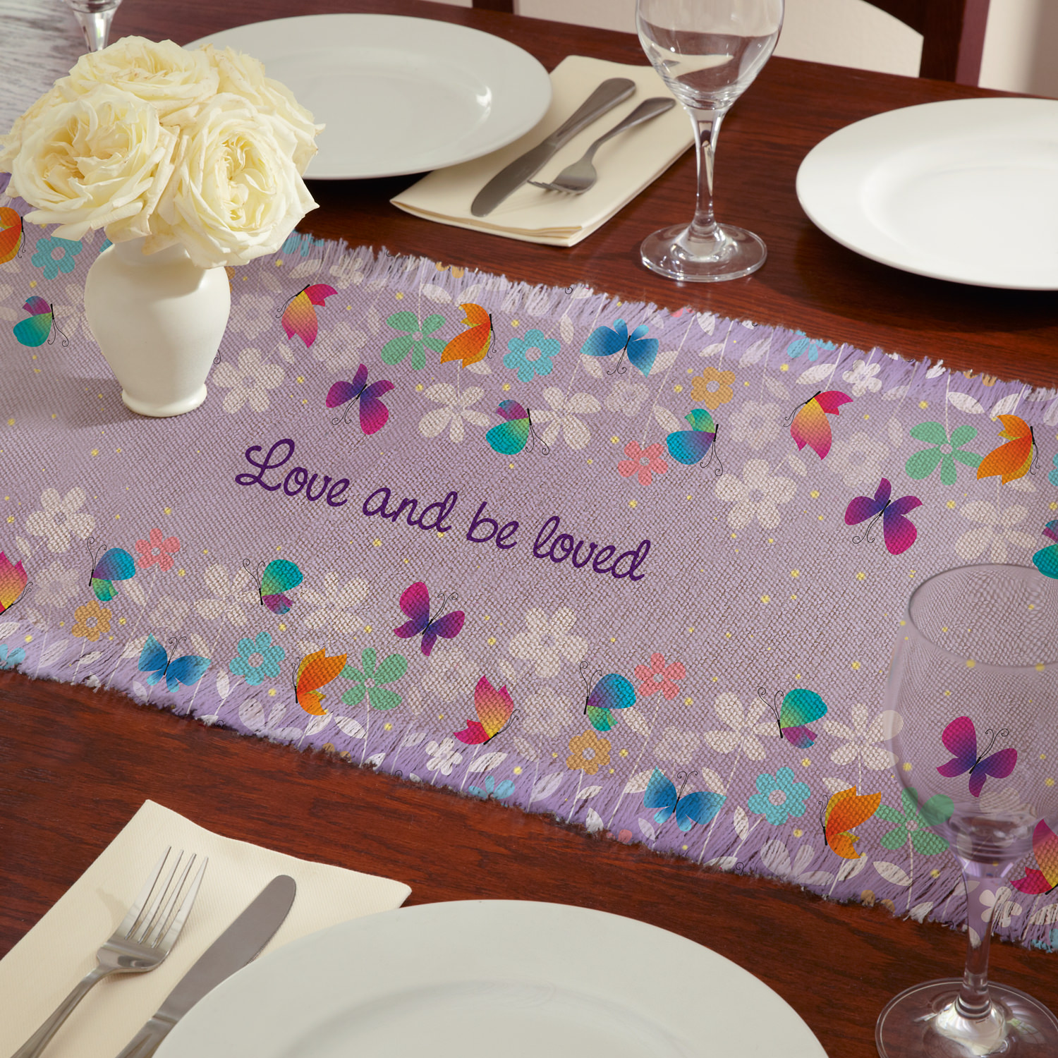 Personalized Spring Butterflies Table Runner