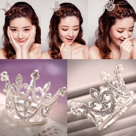 Kids Crowns (Super Mini Circle Round Pearl Crown Kid Bridal Princess Rhinestone Tiara)