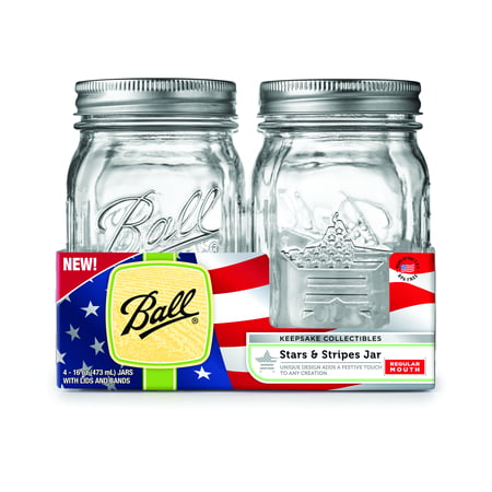 Ball(R) Regular Mouth Keepsake Canning Jars 4/Pkg-Pint USA, 16oz (Single Mason Jars)