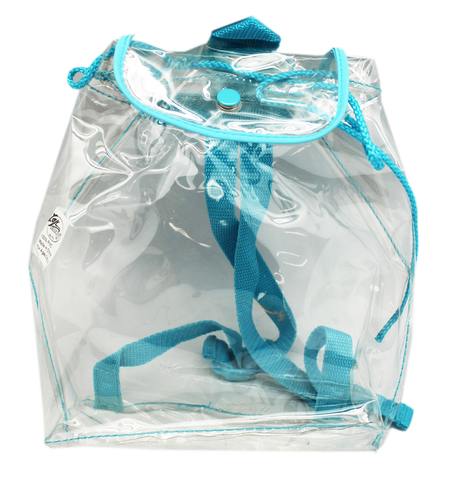 Clear Plastic Mini Backpack Knapsack With Teal Back Straps by