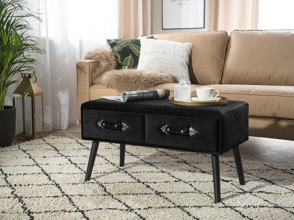 Modern Suitcase Coffee Table Black Velvet Drawers Storage Upholstered Amtrak