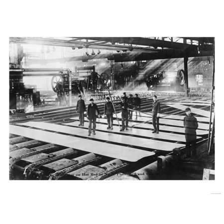 Men Laying out Plates in Steel Mill Photograph Print Wall Art By Lantern - Plate Wall Art