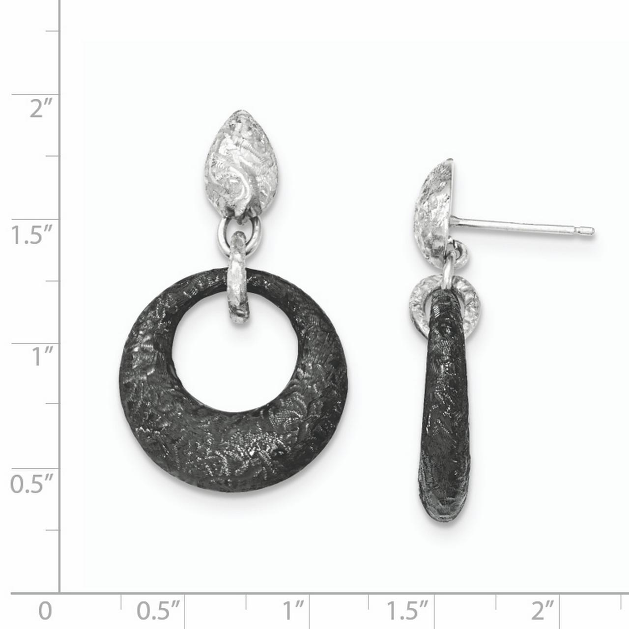 925 Sterling Silver Textured Black Post Stud Drop Dangle Chandelier Earrings Fine Jewelry Gifts For Women For Her - image 1 of 2