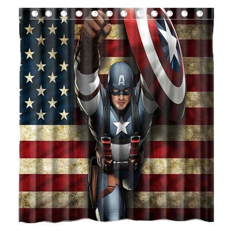 DEYOU Comic Captain America And American Flag Shower Curtain ...