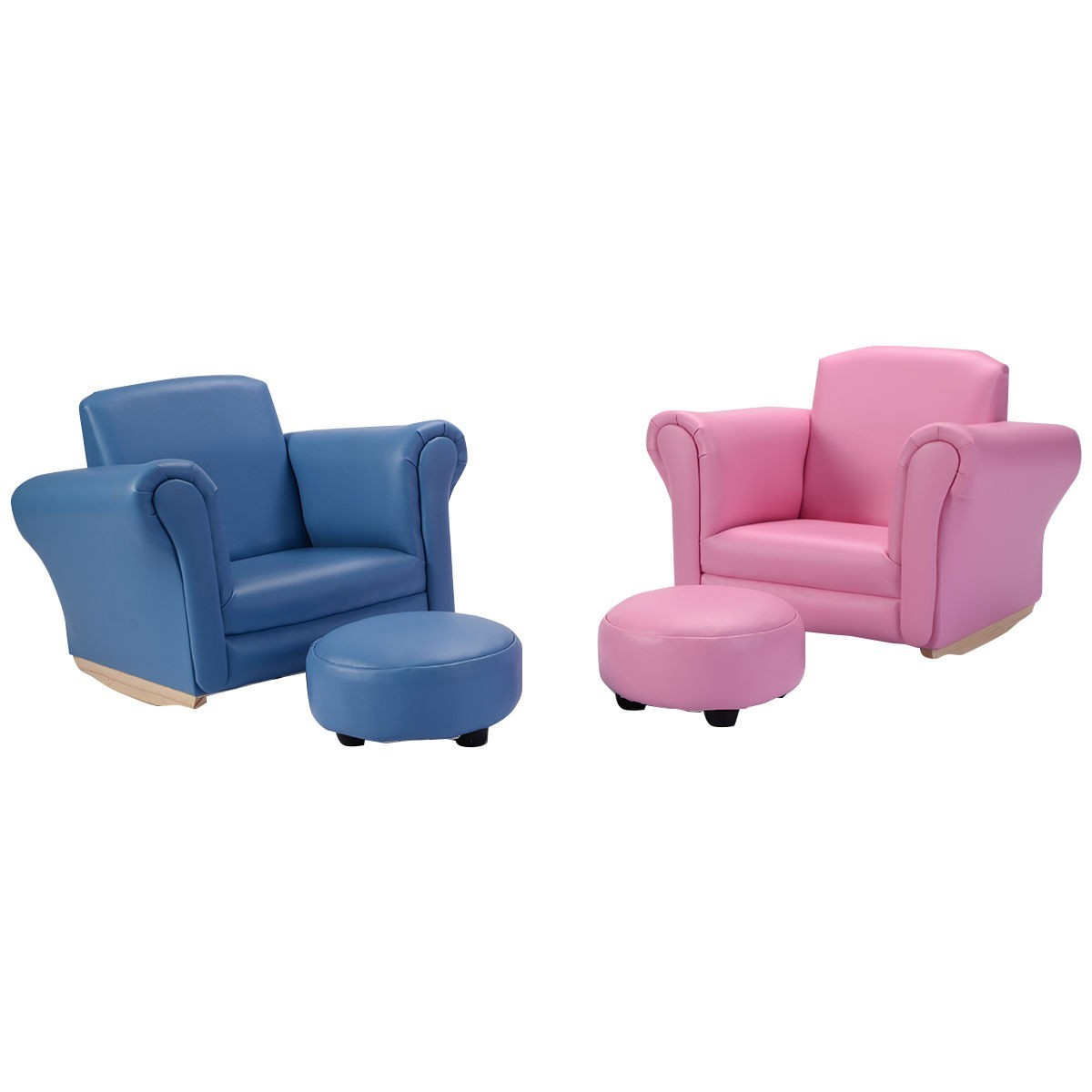 Kids Sofa Armrest Couch with A Footstool 2 Colors Pink by