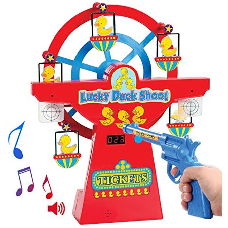 Carnival Fishing Game (Bundaloo Duck Shooting Game - Powered Ferris Wheel Arcade Shoot Game - Mini Carnival Gaming for Playroom for Kids and Adults - Fun Toy Gun Set and Target)