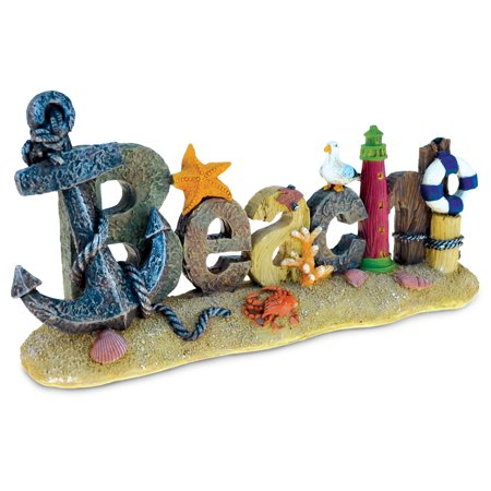 Puzzled Nautical ?Anchor at Beach Sign? Intricate Art Resin Ocean Breeze Figurine Theme D?cor Handcrafted Hand Painted Atlantic Home Accent Kitchen Living Room Decoration Unique Gift -
