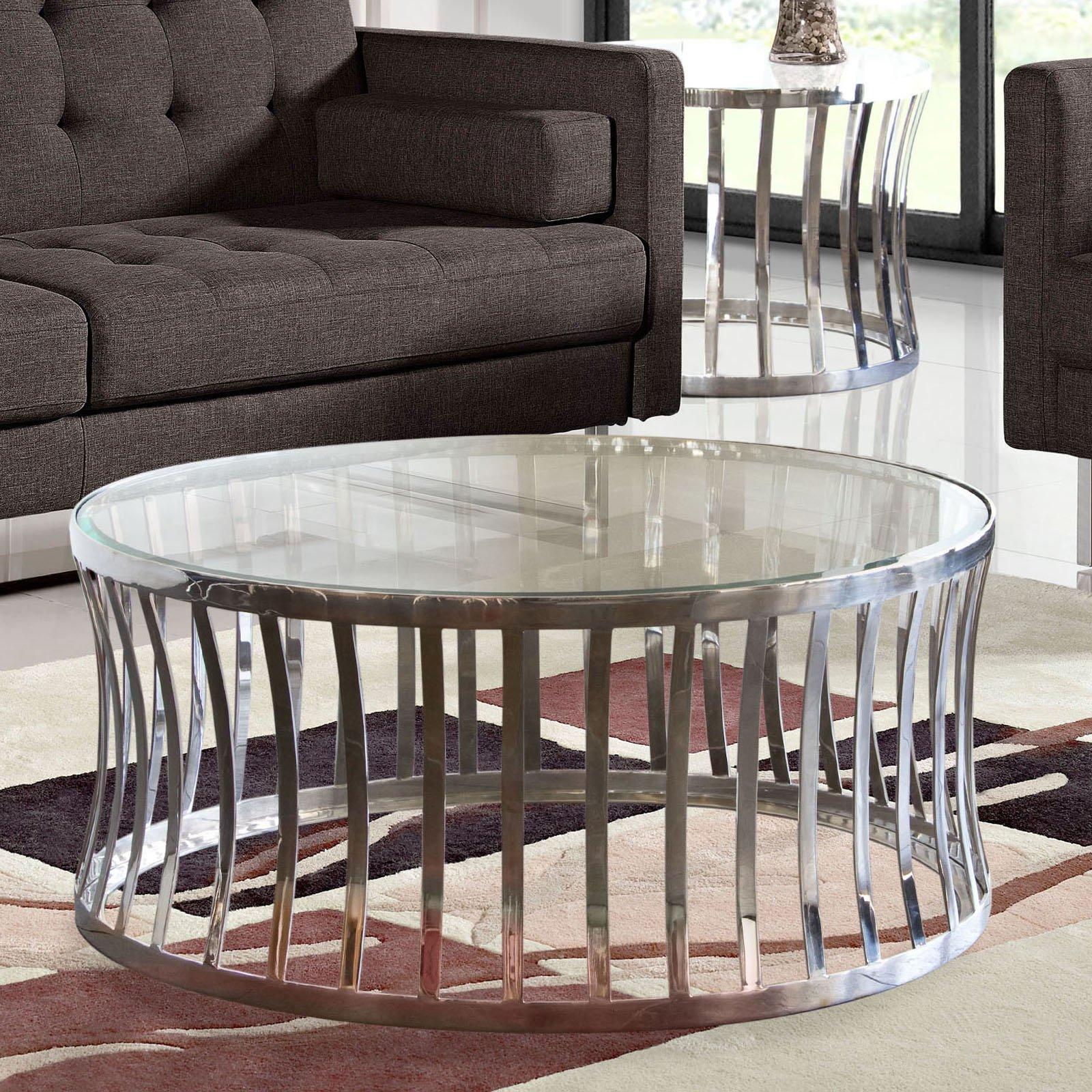 Diamond Sofa Capri Round Glass Top Cocktail Table by Diamond Sofa