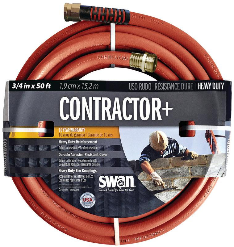 Swan Commercial Grade Heavy Duty Garden Hose, 3 4 in ID 50 ft L, Rubber Vinyl, Gray by Colorite