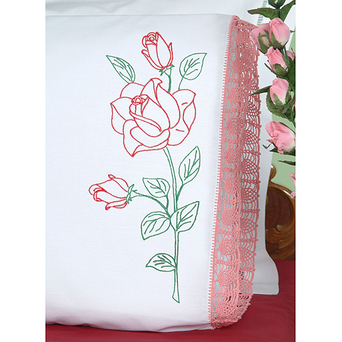 Jack Dempsey 1100 134 Stamped Pillowcases With Hemstitched Edge 2/Pkg-Long Stem Rose