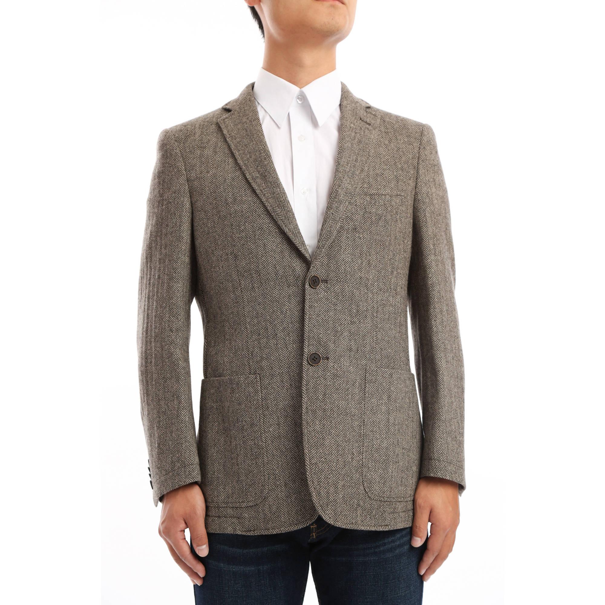 Verno Men's Brown and Tan Herringbone Classic Fit Wool Blazer