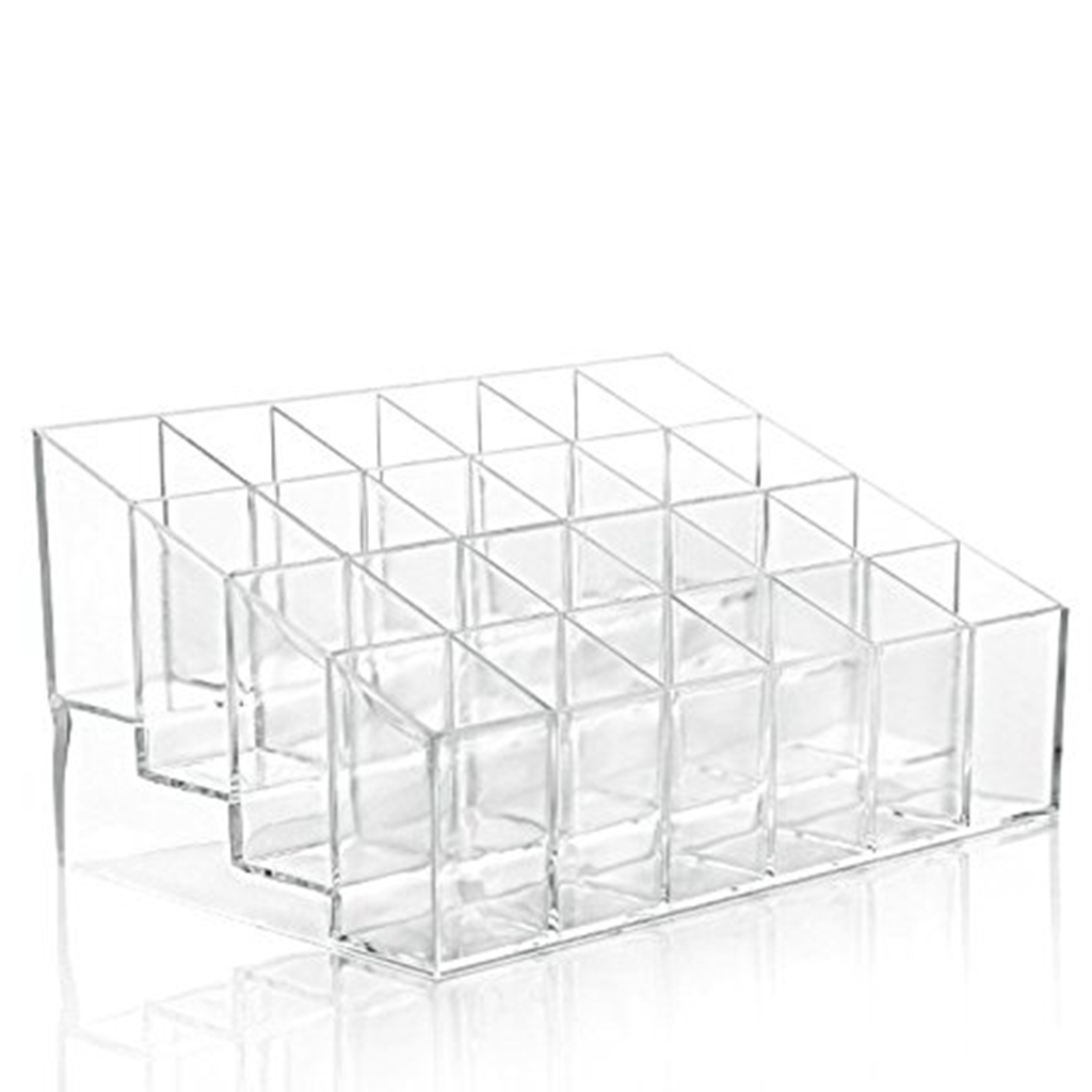 24 Stand Transparent Plastic Trapezoid Acrylic Makeup Cosmetic Organizer Display Stand by