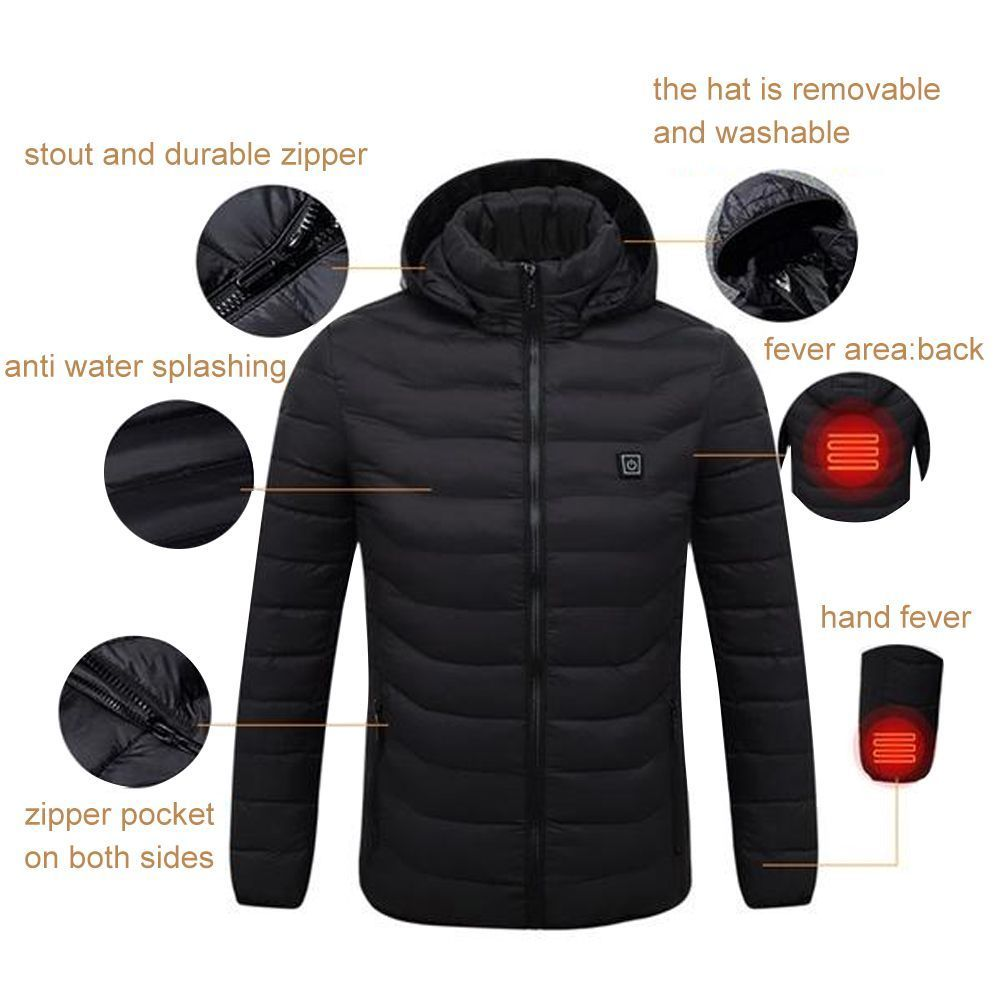 ORPERSIST Thermal Jackets for Mens USB Heating Jacket for Winter with 3 Temperature