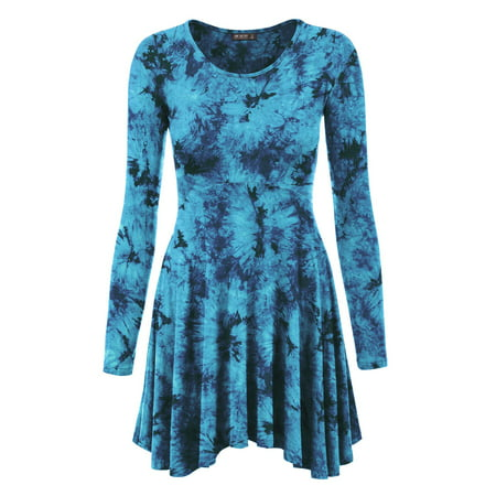 MBJ WT1151 Womens Tie-Dye Long Sleeve Curved Empire Line Draped Tunic Top L TEAL Empire Tunic Top
