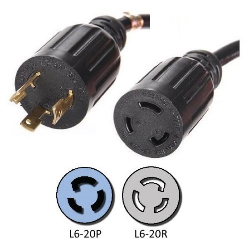 NEMA L6-20 Extension Power Cord - 10 Foot, 20A/250V, 12/3...