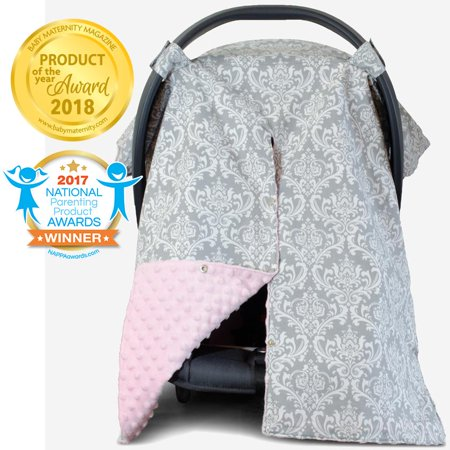 Kids N' Such 2 in 1 Car Seat Canopy Cover with Peekaboo Opening™ - Large Carseat Cover for Infant Carseats - Best for Baby Girls - Use as a Nursing Cover- Damask with Soft Pink Dot Minky ()