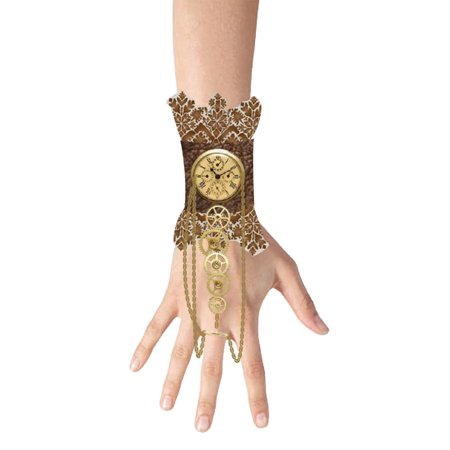Womens Lace Wristlet Clock Charm Gear Steampunk Halloween Costume Accessory - Steampunk Costume Ideas Women