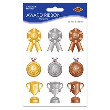 Fan Club Sticker - Club Pack of 48 Gold, Silver and Bronze Award Ribbon Stickers 7.5