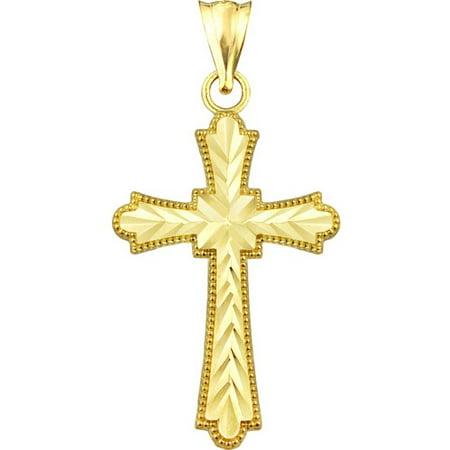 Handcrafted 10kt Gold Diamond-Cut Cross Charm Pendant (Golf Charms)