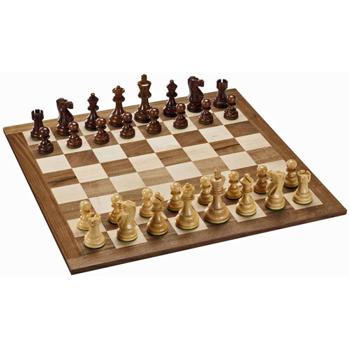 Staunton Chess Set, Weighted Pieces and Solid Wood Board, 18""