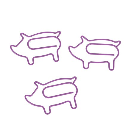 (Price/100 Clips) Officeship Piggy Shaped Paper Clips, 1 1/2