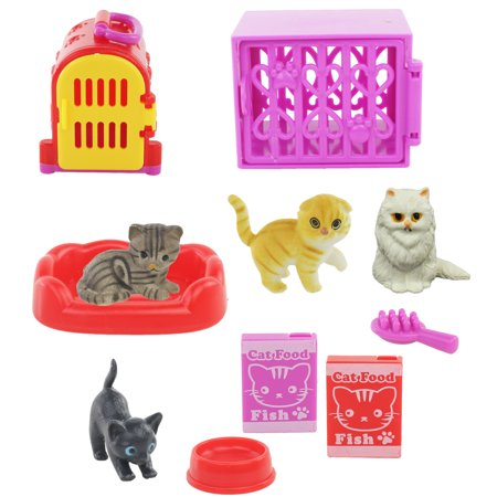 Kids Pet Shop Toy Set w/ 4 Cat figures and Tons of Cool Accessories! Great Playtime Toy for Kids, - Shop Kids Toys
