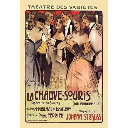 Die Fledermaus is an operetta composed by Johann Strauss II to a German libretto by Karl Haffner and Richard Gene Poster Print by S Dopa