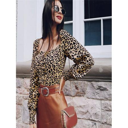 2b26e781ca2e07 Fashion Women Long Sleeve Square Collar Botton Leopard Print Shirt Blouse  Tops - Walmart.com