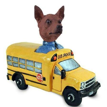 DOOG57B210 Miniature Pinscher Red & Brown School Bus Doogie Collectable Figurine