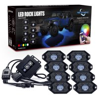 MICTUNING 8 Pods 2nd-Gen RGB LED Rock Light Kit with Bluetooth Controller Timing Funtion