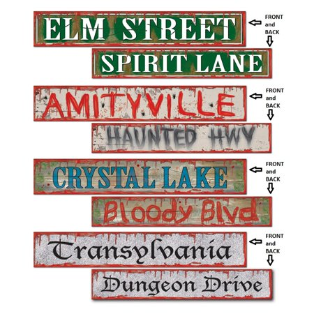 Club Pack of 48 Spooky Halloween Street Sign Cutout Decorations 24