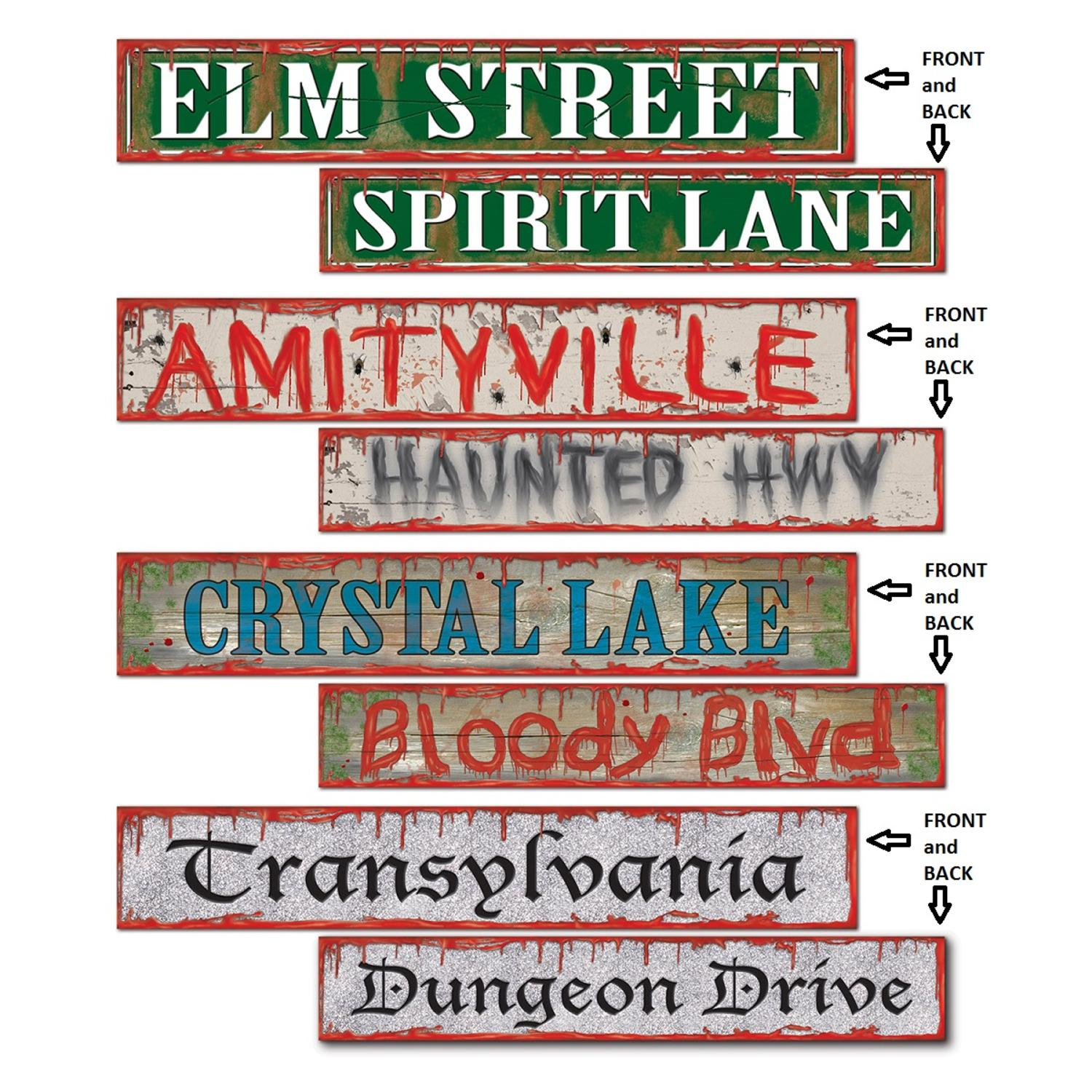 """Club Pack of 48 Spooky Halloween Street Sign Cutout Decorations 24"""""""