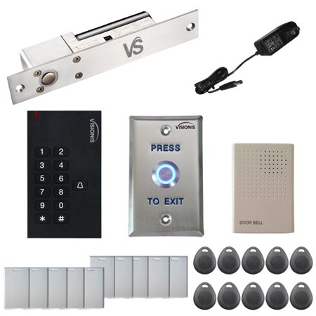Visionis FPC-5541 One Door Access Control 1,700lbs Electric Drop Bolt Fail Safe Time Delay with VIS-3002 Indoor use only Keypad / Reader Standalone No Software EM Card Compatible 500 Users Kit