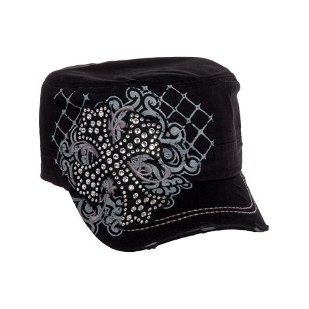 Black Cotton Rhinestone Cross Baseball Military Cadet Cap Hat - Black Cowgirl Hat With Rhinestones
