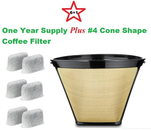 #4 Cone Shape Permanent Coffee Filter & a set of 6 Charcoal Water Filters for Cuisinart... by