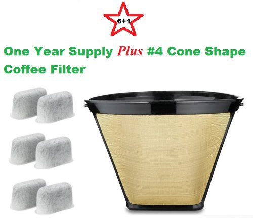 #4 Cone Shape Permanent Coffee Filter & a set of 6 Charcoal Water Filters for Cuisinart DCC-RWF1 Coffeemakers by
