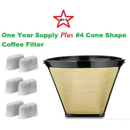#4 Cone Shape Permanent Coffee Filter & a set of 6 Charcoal Water Filters for Cuisinart DCC-RWF1