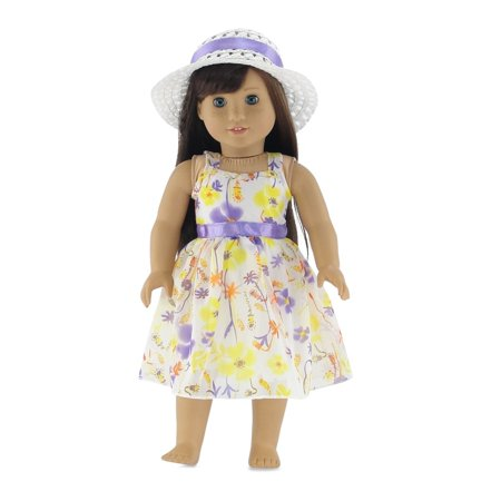 18 Inch Doll Clothes | Gorgeous Floral Easter Dress with Purple Trim, Including White Hat with Matching Ribbon | Fits 18