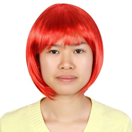 Unique Bargains Lady  Style Short Straight Bangs Wig Christmas Cosplay Full Hair Perwig - Wigs Red Hair