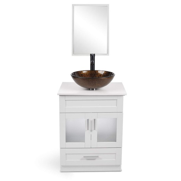 24 Inch Bathroom Vanity Set Mdf White Floor Cabinet Counter Top Glass Vessel Sink Mirror Faucet Walmart Com Walmart Com