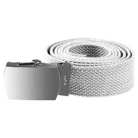 Enimay Kids Canvas Belt Woven Military Silver Roller Buckle White 30 Inch