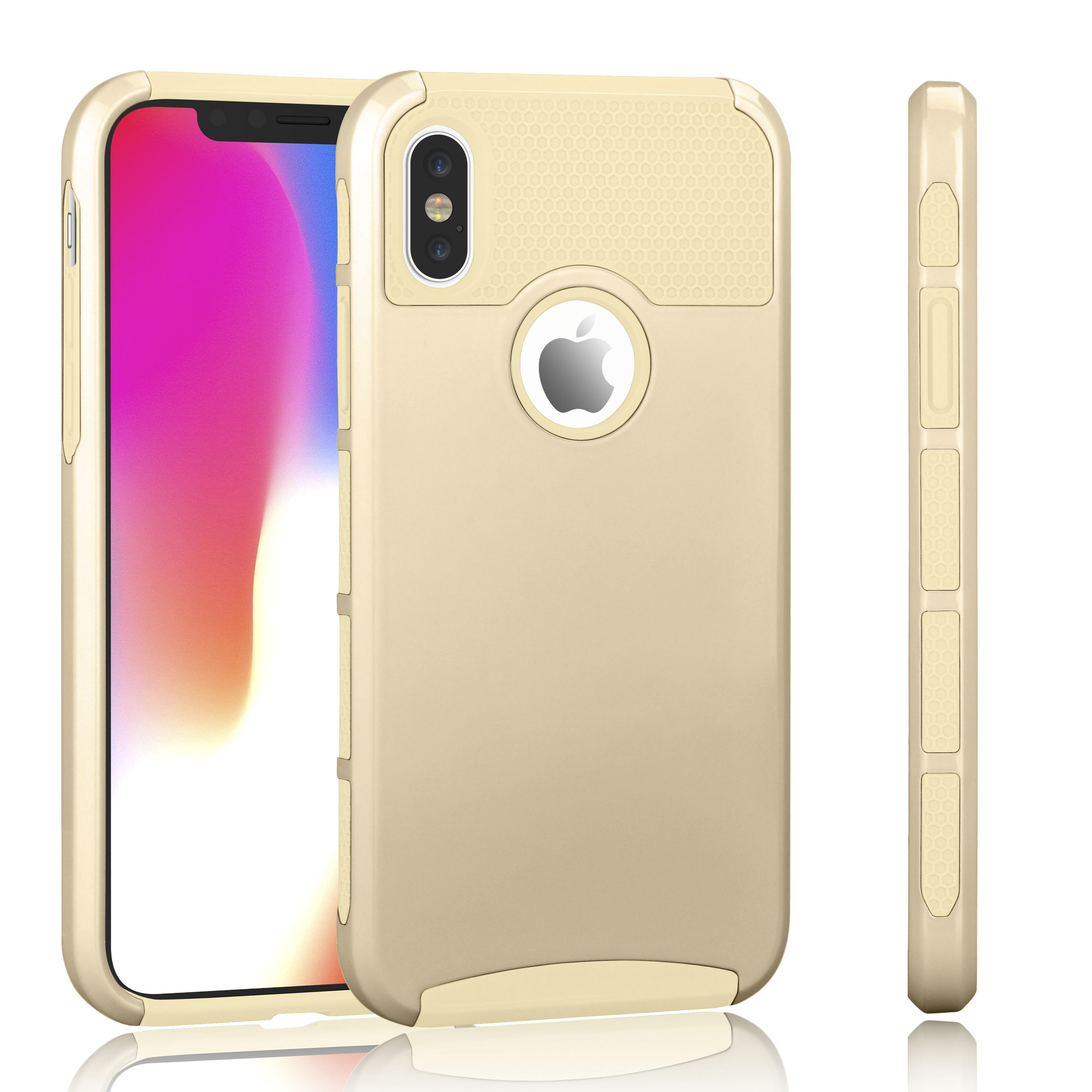 iPhone X Case, iPhone X Sturdy Case For Girls, Tekcoo [TDuke] iPhone 10 Protective Cases [Champagne Gold] Shock Absorbing Hard Defender Glossy Finish Cover [Scratch Proof] Plastic Shell & TPU Rubber