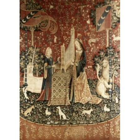 Lady & the Unicorn - Sense of Hearing 15th Century Tapestry Musee National du Moyen Age Thermes & Hotel de Cluny Paris France Poster (15th Century Tapestry)