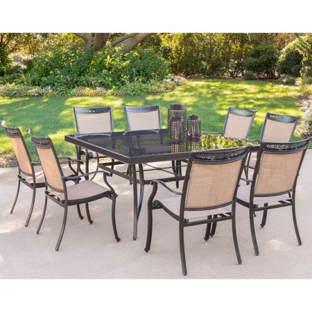 Image of Hanover Fontana 9-Piece Outdoor Dining Set with Square Glass-Top Table